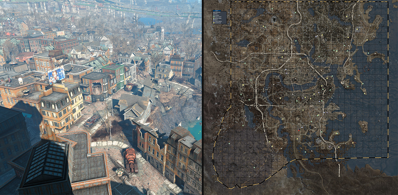 Biggest open world game map size gallery word map images for Fallout 4 mural