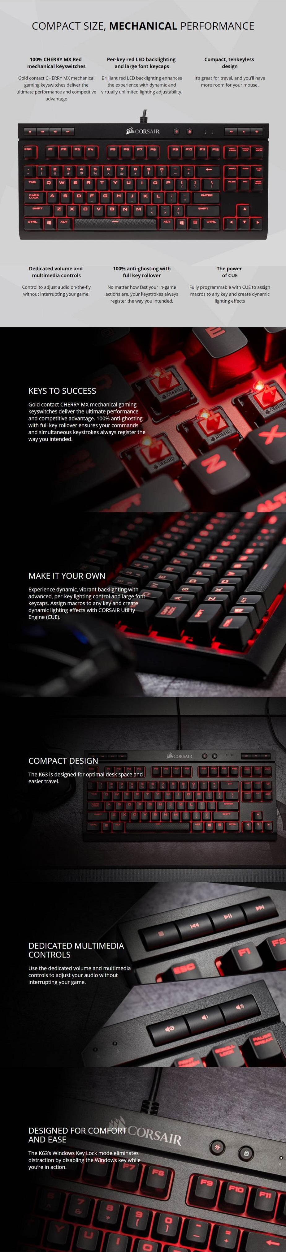 Corsair K63 Compact Mechanical Gaming Keyboard Cherry Mx Red Strafe Led Product Specs Key Switches